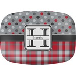 Red & Gray Dots and Plaid Melamine Platter (Personalized)