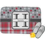 Red & Gray Dots and Plaid Memory Foam Bath Mat (Personalized)