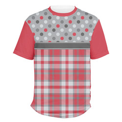 Red & Gray Dots and Plaid Men's Crew T-Shirt (Personalized)