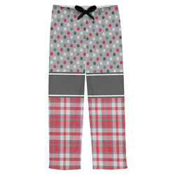 Red & Gray Dots and Plaid Mens Pajama Pants (Personalized)