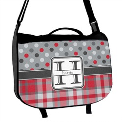 Red & Gray Dots and Plaid Messenger Bag (Personalized)