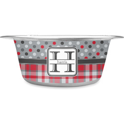 Red & Gray Dots and Plaid Stainless Steel Pet Bowl (Personalized)