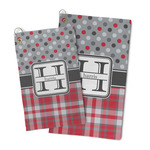 Red & Gray Dots and Plaid Microfiber Golf Towel (Personalized)