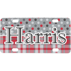 Red & Gray Dots and Plaid Mini / Bicycle License Plate (Personalized)