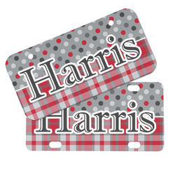 Red & Gray Dots and Plaid Mini/Bicycle License Plates (Personalized)