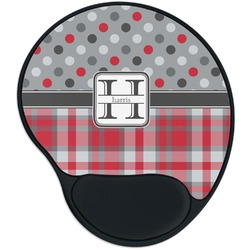Red & Gray Dots and Plaid Mouse Pad with Wrist Support