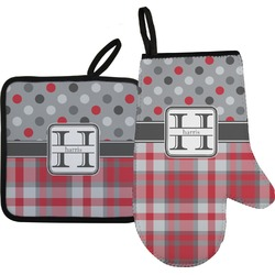 Red & Gray Dots and Plaid Oven Mitt & Pot Holder Set w/ Name and Initial