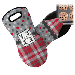 Red & Gray Dots and Plaid Neoprene Oven Mitt (Personalized)
