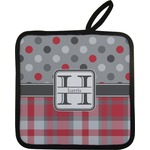 Red & Gray Dots and Plaid Pot Holder w/ Name and Initial