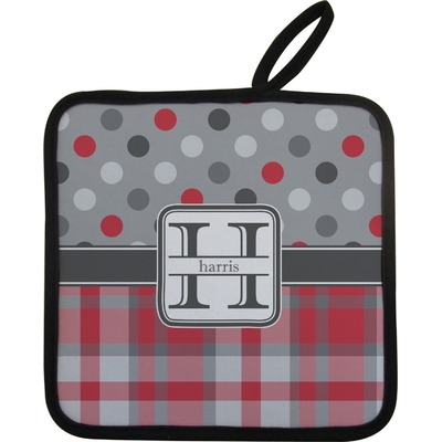 Red & Gray Dots and Plaid Pot Holder (Personalized)