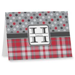 Red & Gray Dots and Plaid Note cards (Personalized)