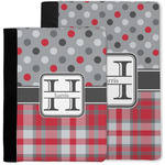 Red & Gray Dots and Plaid Notebook Padfolio w/ Name and Initial