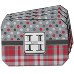 Red & Gray Dots and Plaid Dining Table Mat - Octagon w/ Name and Initial