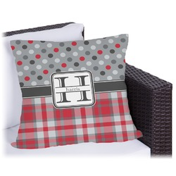 Red & Gray Dots and Plaid Outdoor Pillow (Personalized)