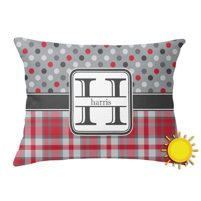 Red & Gray Dots and Plaid Outdoor Throw Pillow (Rectangular) (Personalized)