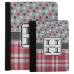 Red & Gray Dots and Plaid Padfolio Clipboard (Personalized)