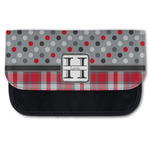 Red & Gray Dots and Plaid Canvas Pencil Case w/ Name and Initial