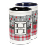 Red & Gray Dots and Plaid Ceramic Pencil Holder - Large