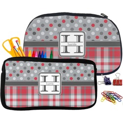 Red & Gray Dots and Plaid Pencil / School Supplies Bag (Personalized)