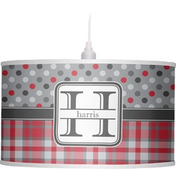 Red & Gray Dots and Plaid Drum Pendant Lamp (Personalized)