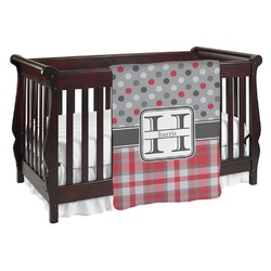 Red & Gray Dots and Plaid Baby Blanket (Personalized)
