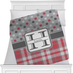 Red & Gray Dots and Plaid Minky Blanket (Personalized)