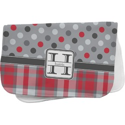 Red & Gray Dots and Plaid Burp Cloth (Personalized)