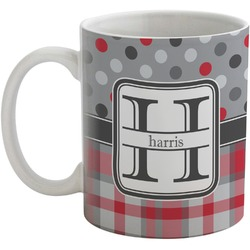 Red & Gray Dots and Plaid Coffee Mug (Personalized)