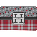Red & Gray Dots and Plaid Comfort Mat (Personalized)