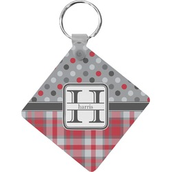 Red & Gray Dots and Plaid Diamond Key Chain (Personalized)