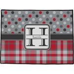 Red & Gray Dots and Plaid Door Mat (Personalized)