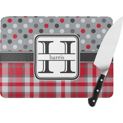 Red & Gray Dots and Plaid Rectangular Glass Cutting Board (Personalized)