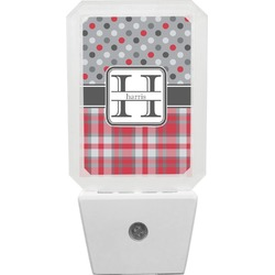Red & Gray Dots and Plaid Night Light (Personalized)