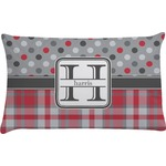 Red & Gray Dots and Plaid Pillow Case (Personalized)