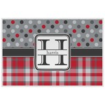 Red & Gray Dots and Plaid Laminated Placemat w/ Name and Initial