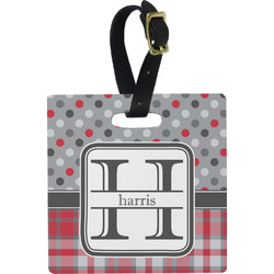 Red & Gray Dots and Plaid Plastic Luggage Tag - Square w/ Name and Initial