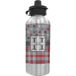 Red & Gray Dots and Plaid Water Bottle (Personalized)