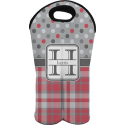 Red & Gray Dots and Plaid Wine Tote Bag (2 Bottles) (Personalized)