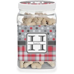 Red & Gray Dots and Plaid Pet Treat Jar (Personalized)