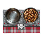 Red & Gray Dots and Plaid Pet Bowl Mat (Personalized)