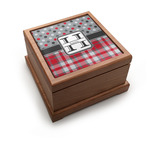 Red & Gray Dots and Plaid Pet Urn w/ Name and Initial