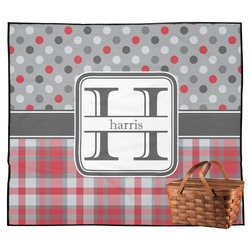 Red & Gray Dots and Plaid Outdoor Picnic Blanket (Personalized)