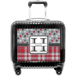Red & Gray Dots and Plaid Pilot / Flight Suitcase (Personalized)
