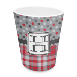 Red & Gray Dots and Plaid Plastic Tumbler 6oz (Personalized)