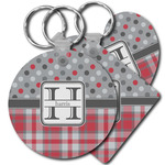 Red & Gray Dots and Plaid Plastic Keychains (Personalized)