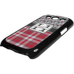 Red & Gray Dots and Plaid Plastic Samsung Galaxy 3 Phone Case (Personalized)