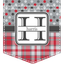 Red & Gray Dots and Plaid Iron On Faux Pocket (Personalized)