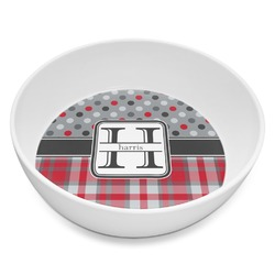 Red & Gray Dots and Plaid Melamine Bowl 8oz (Personalized)