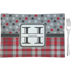 Red & Gray Dots and Plaid Glass Rectangular Appetizer / Dessert Plate - Single or Set (Personalized)
