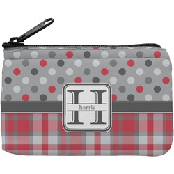 Red & Gray Dots and Plaid Rectangular Coin Purse (Personalized)